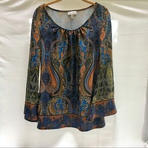 Dress Barn Long bell sleeve paisley top Medium